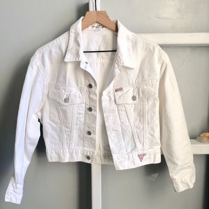Guess Vintage White Crop Denim Jacket Size Small
